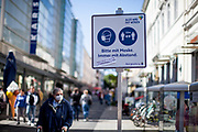 Face masks are not everywhere mandatory in Germany but people are adviced to wear them with this sign in Bad Homburg which is a spa city close to the Taunus mountain range.