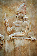 Stone relief sculptured panel of Saron II. Facade L. Inv AO 19873-4 from Dur Sharrukin the palace of Assyrian king Sargon II at Khorsabad, 713-706 BC.  Louvre Museum Room 4 , Paris .<br /> <br /> If you prefer to buy from our ALAMY PHOTO LIBRARY  Collection visit : https://www.alamy.com/portfolio/paul-williams-funkystock/ancient-assyria-antiquities.html  Refine search by adding background colour, place, subject, museum etc into the LOWER SEARCH WITHIN GALLERY box to <br /> <br /> Visit our ANCIENT WORLD PHOTO COLLECTIONS for more photos to download or buy as wall art prints https://funkystock.photoshelter.com/gallery-collection/Ancient-World-Art-Antiquities-Historic-Sites-Pictures-Images-of/C00006u26yqSkDOM