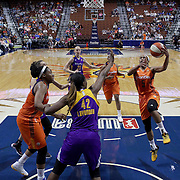 UNCASVILLE, CONNECTICUT- MAY 26:  Jasmine Thomas #5 of the Connecticut Sun drives to the basket during the Los Angeles Sparks Vs Connecticut Sun, WNBA regular season game at Mohegan Sun Arena on May 26, 2016 in Uncasville, Connecticut. (Photo by Tim Clayton/Corbis via Getty Images)