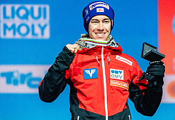 02.03.2019, Seefeld, AUT, FIS Weltmeisterschaften Ski Nordisch, Seefeld 2019, Skisprung, Herren, Siegerehrung, im Bild Bronzemedaillengewinner Stefan Kraft (AUT) // Bronce medalist Stefan Kraft of Austria during the winner ceremony for the men's Skijumping HS109 competition of FIS Nordic Ski World Championships 2019. Seefeld, Austria on 2019/03/02. EXPA Pictures © 2019, PhotoCredit: EXPA/ Stefan Adelsberger