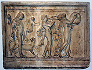A maenad and two satyrs in a Dionysiac procession Roman, about AD 100 From the Villa Quintiliana on the appian Way, south of Rome. The ecstatic procession features two satyrs and a female follower of Dionysus (Bacchus), god of wine.