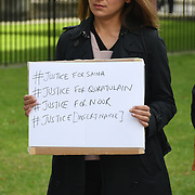 Pakistani Protest to end violence against women in India and Pakistan opposite Downing Street on 31 July 2021, London, UK.