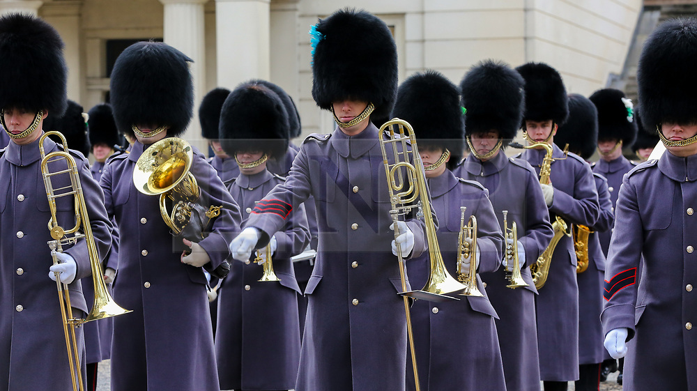 © Licensed to London News Pictures. 06/02/2019. London, UK. The Marching Band in Wellington Barracks before heading to Green Park for a 41-gun salute to mark the 67th anniversary of the Queen Elizabeth II's accession to the throne. Photo credit: Dinendra Haria/LNP