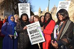 February 6, 2018 - London, London, United Kingdom - Labour Party launches campaign to celebrate 100 years of women's. Female members of the Labour party hold a  call on College Green, Westminster, at the launch of a year long campaign to celebrate the centenary of women's suffrage. (Credit Image: © Howard Jones/i-Images via ZUMA Press)