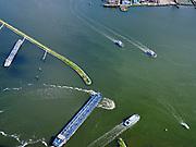 Nederland, Noord-Holland, Amsterdam, 07-05-2021; Houthavens, scheepvaartverkeer bij de vluchthaven, inclusief een drietal pontveren. IJveer vanuit NDSM-werf, Pontsteiger<br /> Houthavens, shipping traffic at the airport, including three ferry boats. IJveer from NDSM wharf, Pontsteiger<br /> luchtfoto (toeslag op standaard tarieven);<br /> aerial photo (additional fee required)<br /> copyright © 2021 foto/photo Siebe Swart.