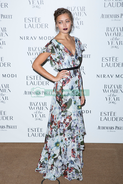 Ella Purnell attending the Harper's Bazaar Woman of the Year awards at Claridges in London. Picture date: Monday October 31, 2016. Photo credit should read: Isabel Infantes / EMPICS Entertainment.