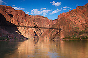 Tunnel and Black Bridge over the Colorado River are part of the South Kaibab Trail, Grand Canyon National Park, Arizona.