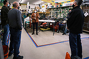 24 OCTOBER 2020 - WAUKEE, IOWA: Greenfield, the Democratic candidate for US Senate, visited Waukee Hardware in Waukee, about 20 miles from Des Moines, and talked to local business people. Greenfield is running against incumbent US Senator Joni Ernst, a Republican. Greenfield holds a slight lead over Ernst in recent polling.      PHOTO BY JACK KURTZ