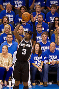 June 2, 2012; Oklahoma City, OK, USA; San Antonio Spurs forward Stephen Jackson (3) takes a shot during a playoff game against Oklahoma City Thunder at Chesapeake Energy Arena.  Thunder defeated the Spurs 109-103 Mandatory Credit: Beth Hall-US PRESSWIRE