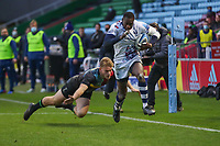 Rugby Union - 2020 / 2021 Gallagher Premiership - Round 4 - Harlequins vs Bristol Bears  - The Stoop<br /> <br /> Niyi Adeolokun, of Bristol Bears,evades the attempted tackle from Louis Lynagh, of Harlequins, to break away and score his sides 4th try <br /> <br /> COLORSPORT/DANIEL BEARHAM
