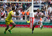 """Twickenham, Surrey United Kingdom. Englands Dan NORTON, attacking during the Pool D match, England vs Australia at the  """"2017 HSBC London Rugby Sevens"""",  Saturday 20/05/2017 RFU. Twickenham Stadium, England    <br /> <br /> [Mandatory Credit Peter SPURRIER/Intersport Images]"""