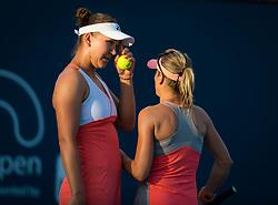 March 21, 2019 - Miami, FLORIDA, USA - Nicole Melichar of the United States & Kveta Peschke of the Czech Republic playing doubles at the 2019 Miami Open WTA Premier Mandatory tennis tournament (Credit Image: © AFP7 via ZUMA Wire)