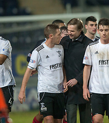 Steven Pressley, Falkirk manager with ex-Falkirk player Livingston's Burton O'Brien at the end..Falkirk 2 v 0 Livingston, 19/2/2013..©Michael Schofield.