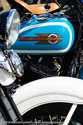 Bikes lined up for a panorama portrait in Aune Osborne Park in Sault Sainte Marie, the site of the official start of the Cross Country Chase motorcycle endurance run from Sault Sainte Marie, MI to Key West, FL. (for vintage bikes from 1930-1948). Thursday, September 5, 2019. Photography ©2019 Michael Lichter.