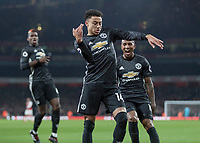 Football - 2017 / 2018 Premier League - Arsenal vs. Manchester United<br /> <br /> Jesse Lingard (Manchester United) celebrates with a dance in front of his supporters after he scores his teams second goal at The Emirates.<br /> <br /> COLORSPORT/DANIEL BEARHAM