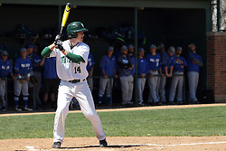 11 April 2015:  Jarrod Juskiewicz during an NCAA division 3 College Conference of Illinois and Wisconsin (CCIW) Pay in Baseball game during the Conference Championship series between the Millikin Big Blue and the Illinois Wesleyan Titans at Jack Horenberger Stadium, Bloomington IL