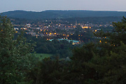 Town of Dorking in Surrey from Box Hill after dark.