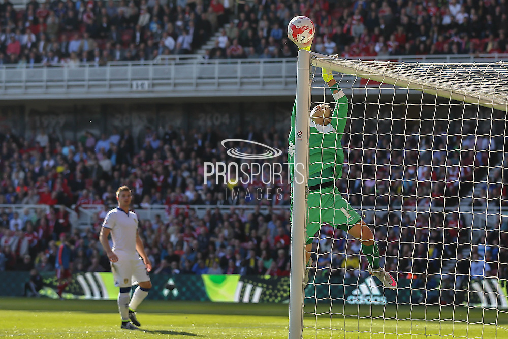 Fine save from Leeds United goalkeeper Marco Silvestri   during the Sky Bet Championship match between Middlesbrough and Leeds United at the Riverside Stadium, Middlesbrough, England on 27 September 2015. Photo by Simon Davies.