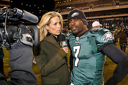 Philadelphia Eagles quarterback Michael Vick #7 is interviewed after the NFL Game between the Indianapolis Colts and the Philadelphia Eagles. The Eagles won 26-24 at Lincoln Financial Field in Philadelphia, Pennsylvania on Sunday November 7th 2010. (Photo By Brian Garfinkel)