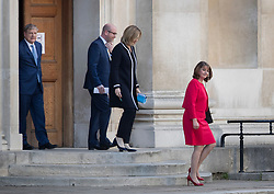 © Licensed to London News Pictures. 31/05/2017. Cambridge, UK. Plaid Cymru's Leanne Wood leads Home Secretary Amber Rudd, UKIP's Paul Nuttall and Angus Robertson of the SNP  into the leaders TV debate at Senate House, Cambridge. Recent polls have show a closing in the gap between the Labour Party and Conservative Party, in what was expected to be a landslide general election victory for the Conservatives. Photo credit: Peter Macdiarmid/LNP