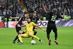 FRANKFURT May 3, 2019  Hasebe Makoto (1st L) and Jetro Willems (1st R) of Frankfurt vie with Olivier Giroud (2nd L) of Chelsea during the UEFA Europa League semifinal first leg match between Eintracht Frankfurt and Chelsea FC in Frankfurt, Germany, on May 2, 2019. The match ended in a 1-1 draw. (Credit Image: © Ulrich Hufnagel/Xinhua via ZUMA Wire)