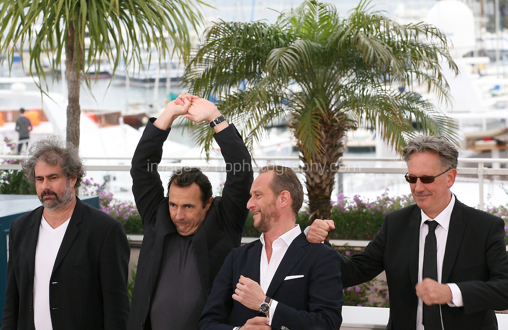 Director Gustave Kervern, Actor Albert Dupontel, Actor Benoît Poelvoorde, Director Benoît Delepine at Le Grand Soir photocall at the 65th Cannes Film Festival France. Tuesday 22nd May 2012 in Cannes Film Festival, France.