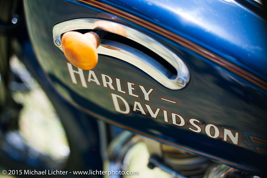 """Invited builder Matt Olsen's """"One of One"""" custom Harley on Friday - for the builder-invite bike check-in for the Born-Free 6 Vintage Chopper and Classic Motorcycle Show. Silverado, CA. USA. June 27, 2014.  Photography ©2014 Michael Lichter."""