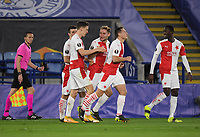 Football - 2020 / 2021 Europa League - Round of 32 - Second Leg - Leicester City vs Slavia Prague - King Power Stadium<br /> <br /> Slavia Prague players celebrate their opening goal scored by Lukas Provod.<br /> <br /> COLORSPORT/ASHLEY WESTERN
