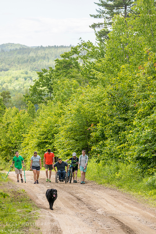 A group explores the new Bethel Community Forest in Bethel, Maine.