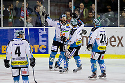 Gregor Baumgartner (EHC Liwest Linz, #79) scores a goal and celebrates during ice-hockey match between HDD Tilia Olimpija and EHC Liwest Black Wings Linz at fourth match in Semifinal  of EBEL league, on March 13, 2012 at Hala Tivoli, Ljubljana, Slovenia. (Photo By Matic Klansek Velej / Sportida)