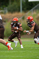 KELOWNA, BC - SEPTEMBER 8:  Malcolm Miller #3 of Okanagan Sun takes the ball on the hand off from Alex Douglas #1 against the Langley Rams]  at the Apple Bowl on September 8, 2019 in Kelowna, Canada. (Photo by Marissa Baecker/Shoot the Breeze)