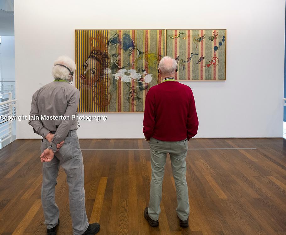 Paintings by Sigmar Polke at Museum Frieder Burda in Baden-Baden , Baden-Wurttemberg,Germany. - editorial use only