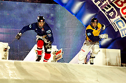 04-02-2012 SKATING: RED BULL CRASHED ICE WORLD CHAMPIONSHIP: VALKENBURG<br /> (L-R) Coleton Haywood CAN, Jim de Paoli SUI<br /> ©2012-FotoHoogendoorn.nl / Peter Schalk