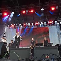 Italian singer Mario Biondi performs on the main stage at the Paloznak Jazz Picnic music festival held in Paloznak, Hungary on July 29, 2021. ATTILA VOLGYI