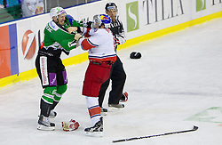 during ice-hockey match between HDD Tilia Olimpija Ljubljana (SLO) and EC Red Bull Salzburg (AUT) in 2nd Quaterfinals of EBEL league, on March 1, 2011 in Hala Tivoli, Ljubljana, Slovenia. (Photo By Vid Ponikvar / Sportida.com)