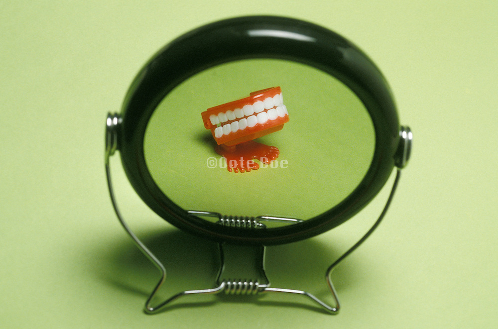 wind-up toy in mirror