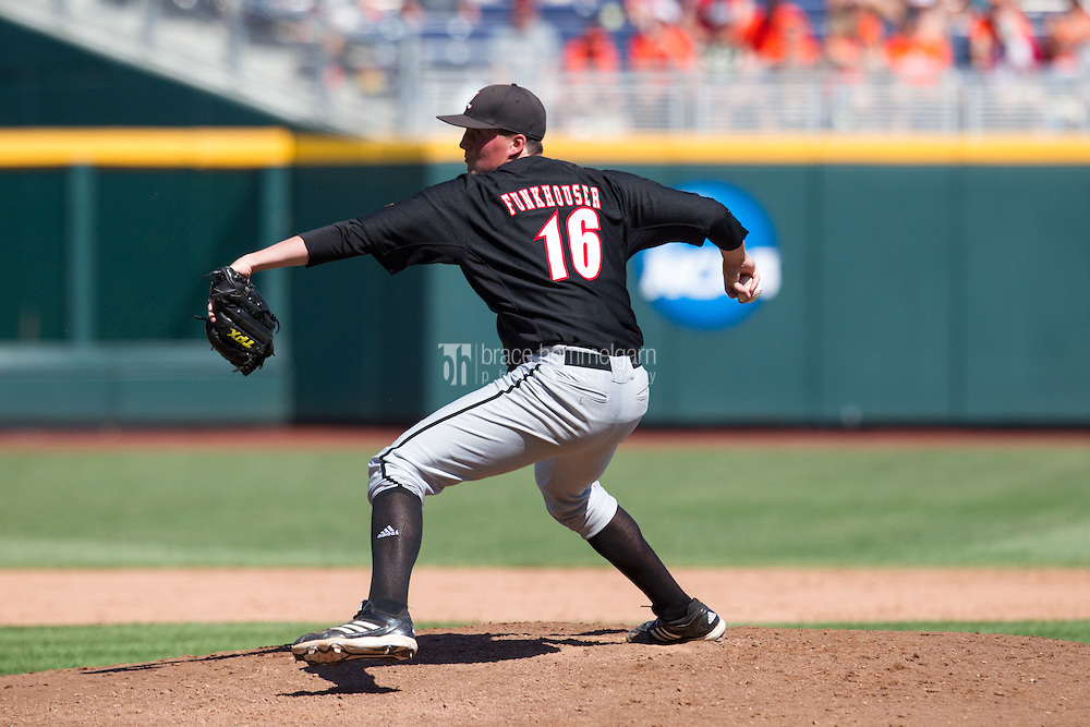 Louisville Cardinals pitcher Kyle Funkhouser #16 pitches during Game 5 of the 2013 Men's College World Series between the Oregon State Beavers and Louisville Cardinals at TD Ameritrade Park on June 17, 2013 in Omaha, Nebraska. The Beavers defeated the Cardinals 11-4. (Brace Hemmelgarn)