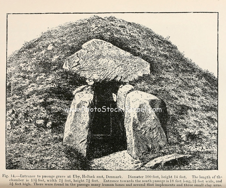 Entrance to a Passage Cave at Uby, Holbaek amt, Denmark from the book '  The viking age: the early history, manners, and customs of the ancestors of the English speaking nations ' by Du Chaillu, (Paul Belloni), 1835-1903 Publication date 1889 by C. Scribner's sons in New York,