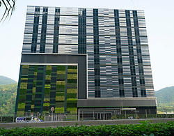 Exterior view of MEGA Plus - SUNeVision iAdvantage Data Center in Tseung Kwan O in New Territories of Hong Kong