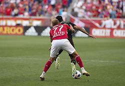 August 5, 2018 - Harrison, New Jersey, United States - Daniel Royer (77) of Red Bulls & Steven Beitashour (3) of LAFC fight for ball during regular MLS game at Red Bull Arena Red Bulls won 2 - 1  (Credit Image: © Lev Radin/Pacific Press via ZUMA Wire)
