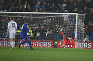 Marcus Bettinelli, the Fulham goalkeeper dives in vain as Kenneth Zohore of Cardiff city (c) scores his teams 1st goal. EFL Skybet championship match, Cardiff city v Fulham at the Cardiff city stadium in Cardiff, South Wales on Boxing Day, Tuesday 26th December 2017.<br /> pic by Andrew Orchard, Andrew Orchard sports photography.