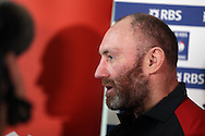 Wales assistant coach Robin McBryde speaks to the media at the Wales Rugby team press conference at the Vale Resort, Hensol near Cardiff, South Wales on Wed 10th February 2016. The team are preparing for the their next RBS Six nations championship match against Scotland.<br /> pic by  Andrew Orchard, Andrew Orchard sports photography.