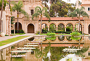 Pool and archway at El Prado in Balboa Park, San Diego, California