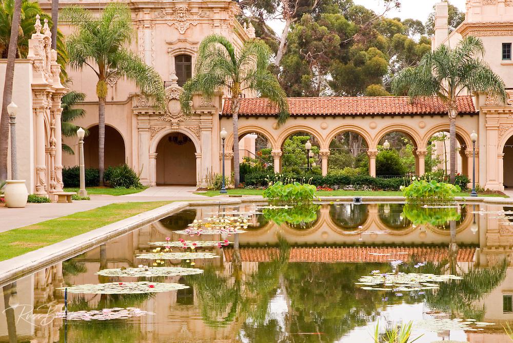 Pool and archway at El Prado in Balboa Park, San Diego, California