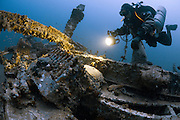 The wreck of a German Schnellboot, a fast attack torpedo boat, which lies at 65  metres depth off the coast of Malta. The wreck is covered in ammunition, depth charges and the torpedo tubes are still loaded