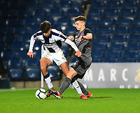 Lincoln City U18's Charlie West battles with  West Bromwich Albion U18's Zak Brown<br /> <br /> Photographer Andrew Vaughan/CameraSport<br /> <br /> FA Youth Cup Round Three - West Bromwich Albion U18 v Lincoln City U18 - Tuesday 11th December 2018 - The Hawthorns - West Bromwich<br />  <br /> World Copyright © 2018 CameraSport. All rights reserved. 43 Linden Ave. Countesthorpe. Leicester. England. LE8 5PG - Tel: +44 (0) 116 277 4147 - admin@camerasport.com - www.camerasport.com