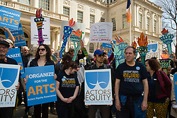 April 3, 2017 - Manhattan, New York, U.S - Hundreds of outraged artists and cultural workers held a Rally to Save the Arts to protest the Trump Administration's proposed elimination of the National Endowment for the Arts, the National Endowment for the Humanities, the Institute of Museum and Library Services, and the Corporation for Public Broadcasting. The first of its kind rally, was sponsored by New York City Council Speaker Melissa Mark-Viverito,  and Jimmy Van Bramer, Chair of the Committee on Cultural Affairs. Actors, visual artists, performers and musicians participated. (Credit Image: © Nancy Siesel via ZUMA Wire)