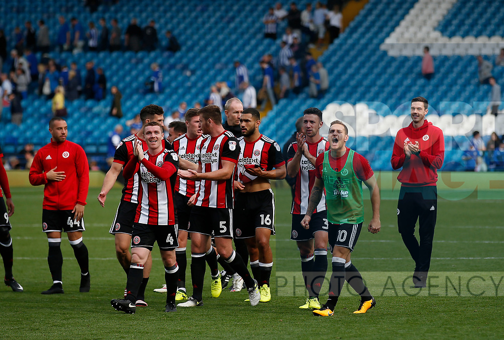 Sheffield Utd players celebrate the win during the Championship match at the Hillsborough Stadium, Sheffield. Picture date 24th September 2017. Picture credit should read: Simon Bellis/Sportimage