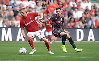 Bristol City's Taylor Moore is put under pressure from Leeds United's Pablo Hernandez<br /> <br /> Photographer Ian Cook/CameraSport<br /> <br /> The EFL Sky Bet Championship - Bristol City v Leeds United - Sunday 4th August 2019 - Ashton Gate Stadium - Bristol<br /> <br /> World Copyright © 2019 CameraSport. All rights reserved. 43 Linden Ave. Countesthorpe. Leicester. England. LE8 5PG - Tel: +44 (0) 116 277 4147 - admin@camerasport.com - www.camerasport.com
