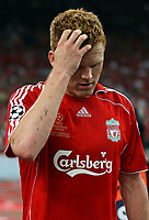 Photo: Paul Thomas.<br /> AC Milan v Liverpool. UEFA Champions League Final. 23/05/2007.<br /> <br /> Dejected John Arne Riise of Liverpool.